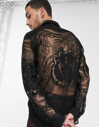 Twisted Tailor lace shirt with palm and tiger print in black