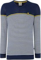 Lyle And Scott Golf Stripe Cotton V- Neck Jumper