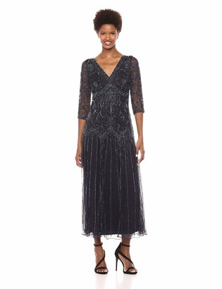 Pisarro Nights Women's Double v-Neck Long Dress with Beaded Motif Details