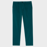 Paul Smith Men's Tapered-Fit Dark Teal Garment-Dyed Pima-Cotton Stretch Chinos