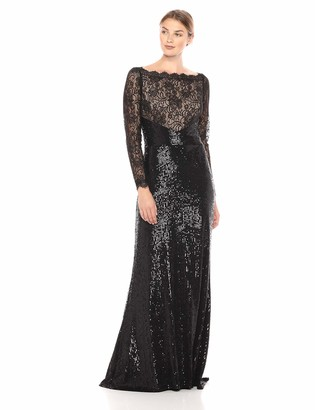 Tadashi Shoji Women's l/s lace and Sequin Gown