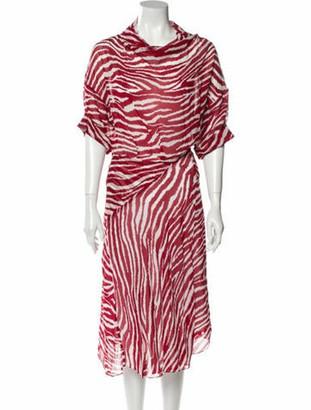 Etoile Isabel Marant Animal Print Midi Length Dress Red