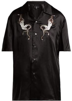 Edward Crutchley Applique-patch Silk-satin Blouse - Womens - Black