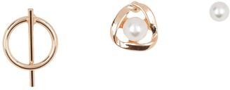 Area Stars 14K Gold Plated 4-6mm Freshwater Pearl & Geo Stud Earrings Set