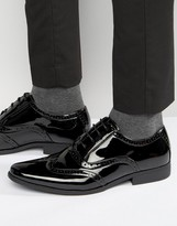 Asos Oxford Brogue Shoes in Black Patent