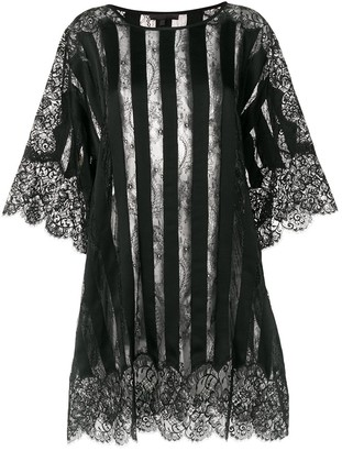 Amen Sheer Striped And Lace Trimmed Oversized Top