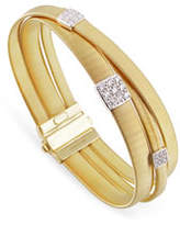 Marco Bicego Masai 18K White Gold Three-Strand Bracelet with Diamond Stations