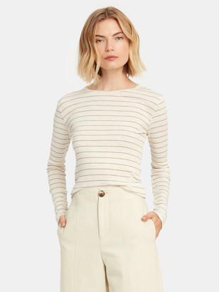 Vince Long Sleeve Stripe Crewneck T-Shirt