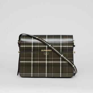 Burberry Large Tartan Print Leather Grace Bag