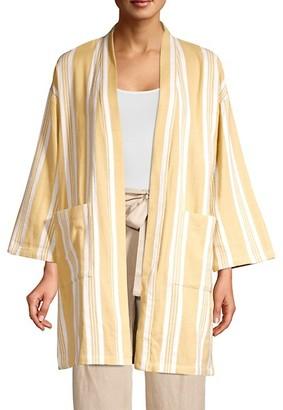 Eileen Fisher Striped Organic Cotton Kimono Jacket