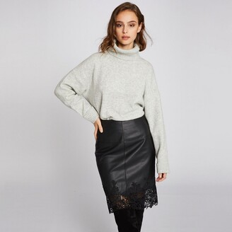 Morgan Faux Leather Knee-Length Skirt with Lace Trim