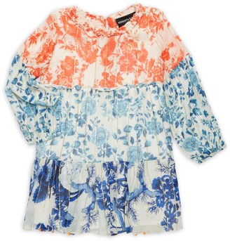 HEMANT AND NANDITA Girl's Colorful Wanderer Georgette Tunic Dress