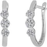 JCPenney FINE JEWELRY diamond blossom 1/10 CT. T.W. Diamond 10K White Gold Cluster Hoop Earrings