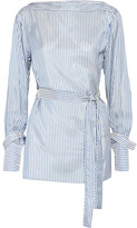 Calvin Klein Collection Striped Satin-twill Top - Blue