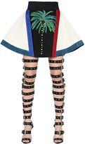 Fausto Puglisi Embellished Double Wool Crepe Skirt