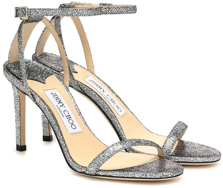 Jimmy Choo Minny 85 metallic leather sandals