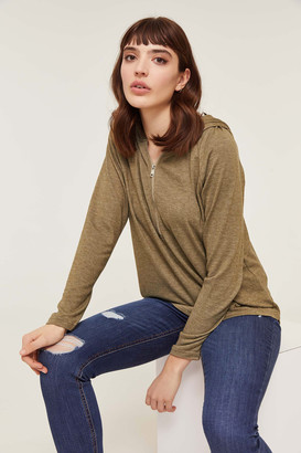 Ardene Zip Collar Hooded Tee