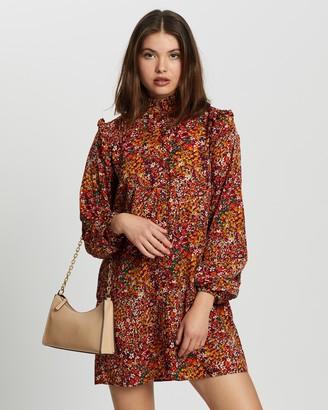 Missguided Frill Shoulder Button Through Dress