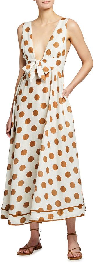 Zimmermann Empire Long Tie-Front Dress