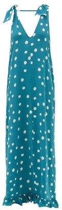 Adriana Degreas Ruffle-hem Polka-dot Silk Maxi Dress - Womens - Blue Print