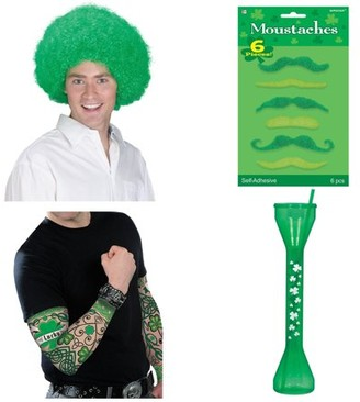 BuySeasons St. Patrick's Day Men's Dress Up and Drink Bundle