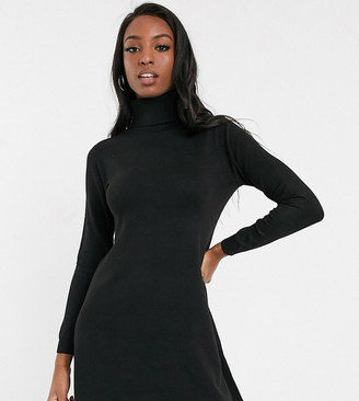 Only Tall Only Julia long sleeve jumper dress-Black
