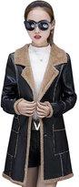 YOUJIA Women Thicken Faux Shearling Mid Length PU Leather Jacket Coat (, S)