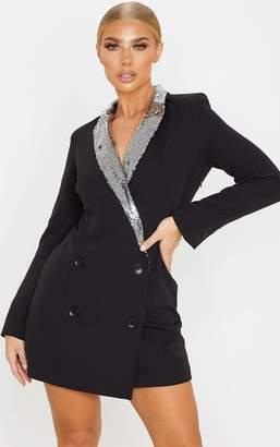 PrettyLittleThing Black Sequin Lapel Blazer Dress