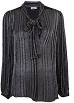 L'Agence Beaded chiffon tie neck blouse