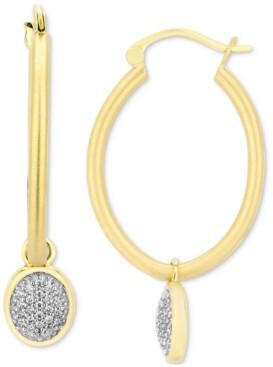 Enchanted Disney Fine Jewelry Diamond Pave Jasmine Dangle Hoop Earrings (1/5 ct. t.w.) in 10k Gold