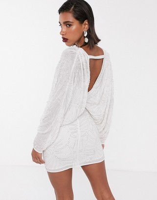 Asos Edition EDITION batwing leaf embellished mini dress with open back