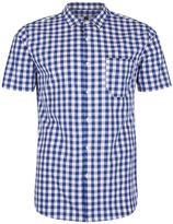 Topman Navy And White Checked Muscle Fit Shirt