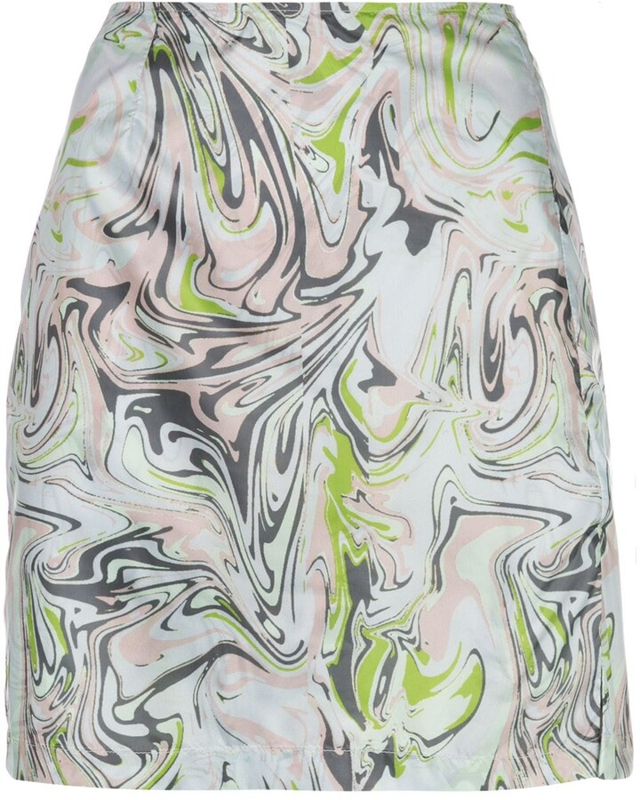 Thumbnail for your product : MAISIE WILEN Call Me marble print mini skirt