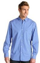Lacoste L/S Cotton Poplin Stripe Shirt (Light Ink/White) - Apparel
