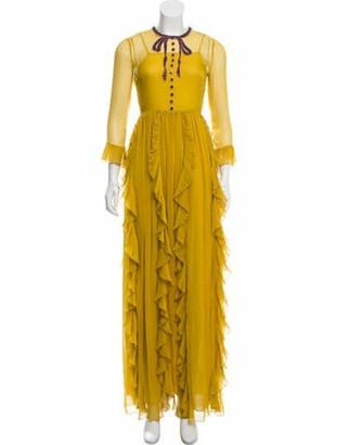 Gucci Embellished Silk Dress Yellow