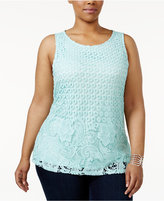 Charter Club Plus Size Lace-Front Top, Only at Macy's