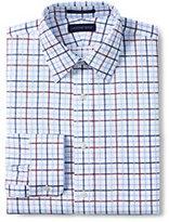 Classic Men's Pattern No Iron Supima Pinpoint Straight Collar-White/Admiral Blue Stripe