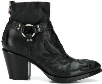 Rocco P. floral-embroidery ankle boots