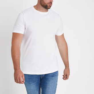 River Island Big and Tall white muscle fit T-shirt
