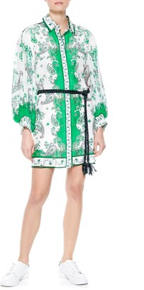 Alice + Olivia Oralia Belted Long Sleeve Silk Blend Shirtdress