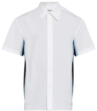 Valentino Short-sleeved Silk-insert Cotton Shirt - Mens - White