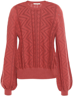 Joie Jaeda Pointelle-knit Cotton And Cashmere-blend Sweater