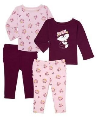 Garanimals Baby Girl T-shirt & Leggings Outfit Set, 4-Piece Multi Pack