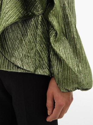 Halpern Metallic Draped Lame Bustier Blouse - Green