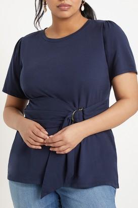ELOQUII Belted Waist T-Shirt (Plus Size)