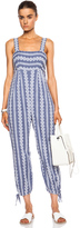 Band Of Outsiders Stripe Cotton Eyelet Jumpsuit with Ankle Ties