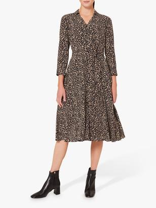 Hobbs Rosaline Abstract Animal Print Shirt Dress, Navy/Camel