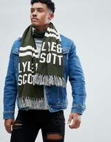 Lyle & Scott Text Logo Scarf In Green