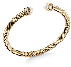 David Yurman Cable Bracelet in 18K Yellow Gold with Pearls & Diamonds