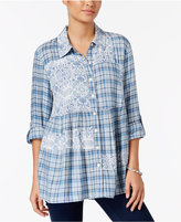 Style and Co Mixed-Print Roll-Tab Blouse, Only at Macy's